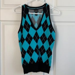 INC Blue & Black Sleeveless Top